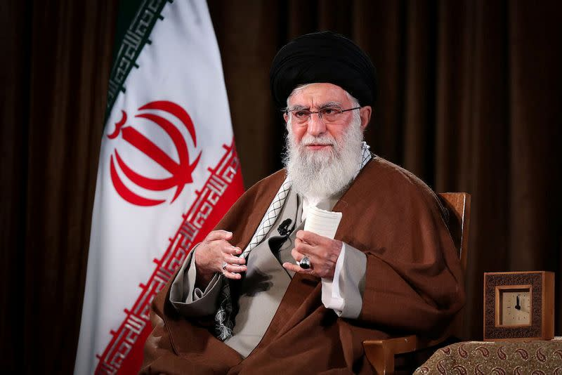 Iran's Supreme Leader Ayatollah Ali Khamenei delivers a televised speech, in Tehran