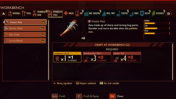 Insect Axe unlock Grounded
