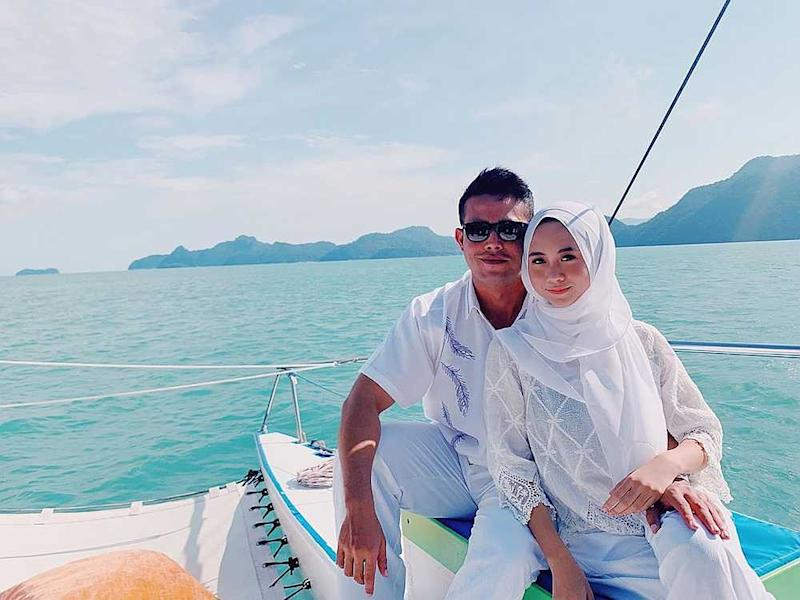 File photo showing Intan Najuwa and her co-star Zul Ariffin during a boat ride in Langkawi. The actress' fiance has denied his relationship with his wife-to-be was on the rocks. — Picture via Instagram/ intannajuwa