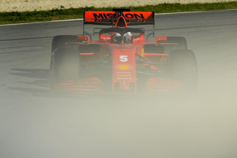 Ferrari's Sebastian Vettel drives during the tests on Wednesday
