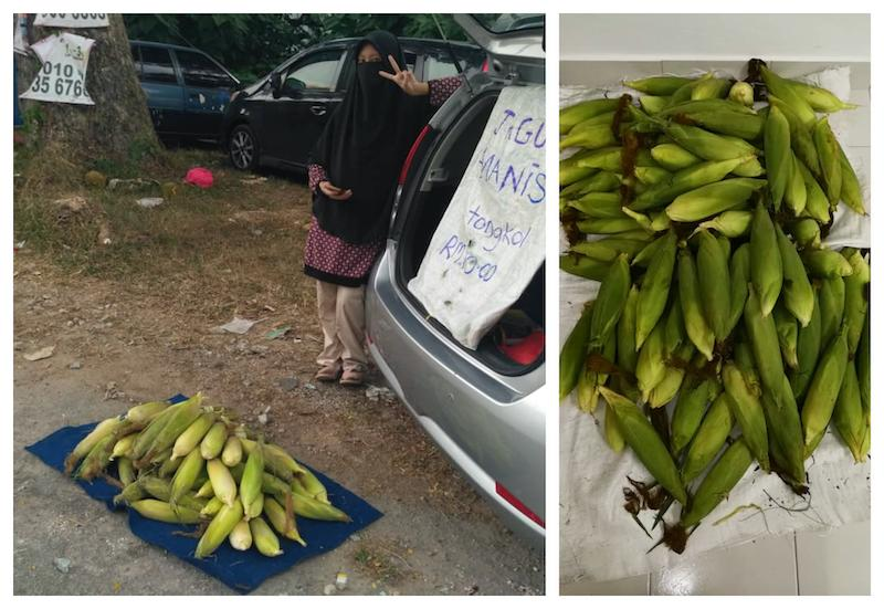 Nurul Shahzamul Hidayah hopes that more people would support her corn and nasi lemak business. — Picture by Nurul Munirah Maiden