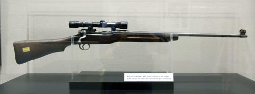In this Oct. 11, 2013 photograph, the Enfield rifle used by the late segregationist Byron De La Beckwith in the 1963 killing of civil rights leader Medgar Evers, will be among the items that will eventually be displayed in the state's civil rights museum in Jackson, Miss. Officials say they did not set out to have separate-but-equal museums for the documentation of the state's history, but it could end up that way. Mississippi breaks ground Thursday. Oct. 24, 2013, on side-by-side museums that are expected to break ground of their own in how they depict the Southern state once rocked by racial turmoil. (AP Photo/Rogelio V. Solis)