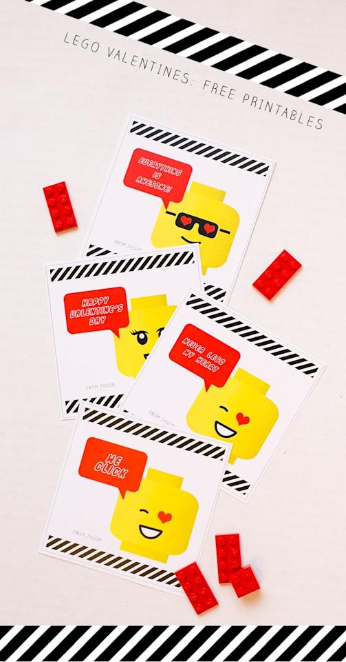 """<p>These <a href=""""http://www.warmhotchocolate.com/2015/02/01/lego-valentines-free-printables/"""" target=""""_blank"""" class=""""ga-track"""" data-ga-category=""""Related"""" data-ga-label=""""http://www.warmhotchocolate.com/2015/02/01/lego-valentines-free-printables/"""" data-ga-action=""""In-Line Links"""">Lego emoji valentines</a> combine two of your kids' favorite things, which makes for a sweet note your kiddo can send to their friends.</p>"""