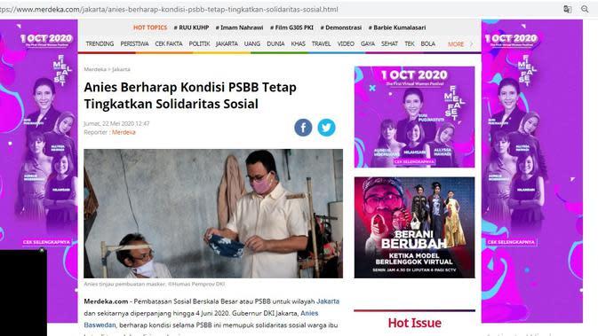 Tangkapan Layar Berita Merdeka.com