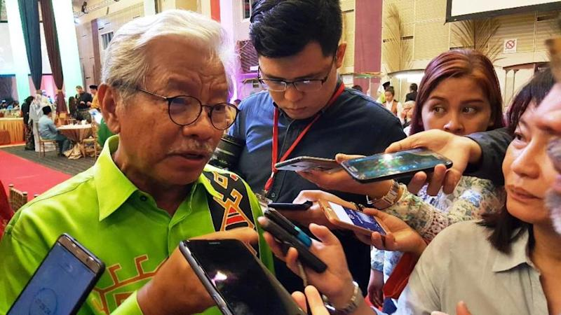 Sarawak deputy chief minister and Parti Rakyat Sarawak president Tan Sri James Masing told the Straits Times the coalition would reveal if they are supporting current front runner Tan Sri Muhyiddin Yassin on March 1. — Picture by Sulok Tawie