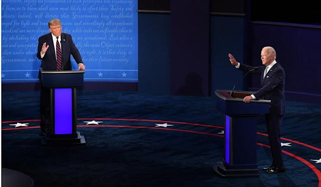 US President Donald Trump and Democratic presidential nominee Joe Biden during the first of presidential debate in Cleveland on September 29. Photo: TNS