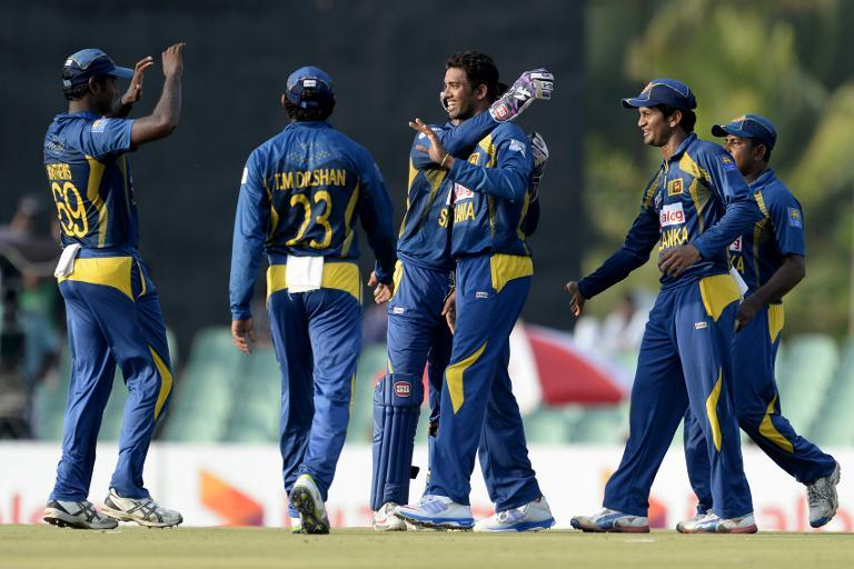 Sri Lankan cricketers celebrate the dismissal of New Zealand batsman Colin Munro during during their third and final ODI match, at the Rangiri Dambulla Int'l Cricket Stadium in Dambulla, north of Colombo, on November 16, 2013