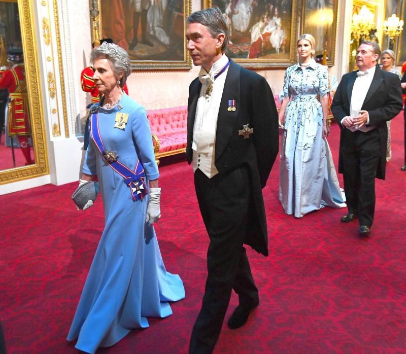 David Cholmondeley, husband of Rose Cholmondeley arrives ahead of Ivanka Trump at the state banquet for Trump