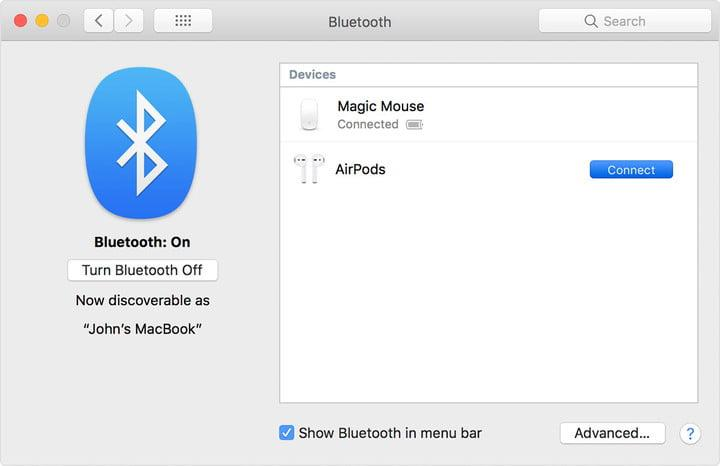 Connect Bluetooth AirPods on Mac