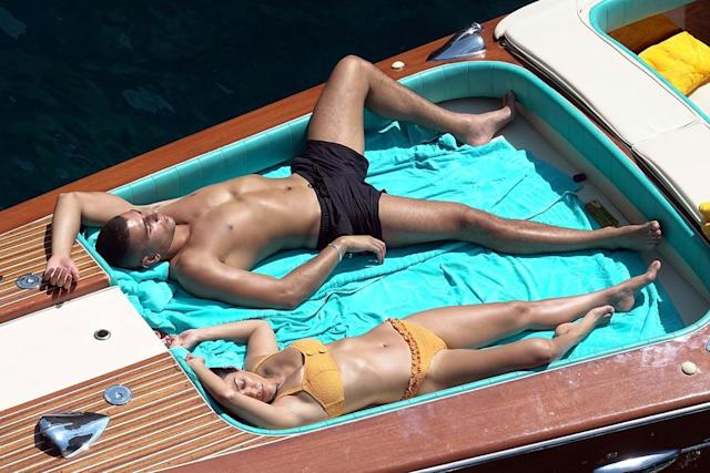 Bikini-Clad Kourtney Kardashian Has Mediterranean Makeout with Younes Bendjima While Swimming in Italy