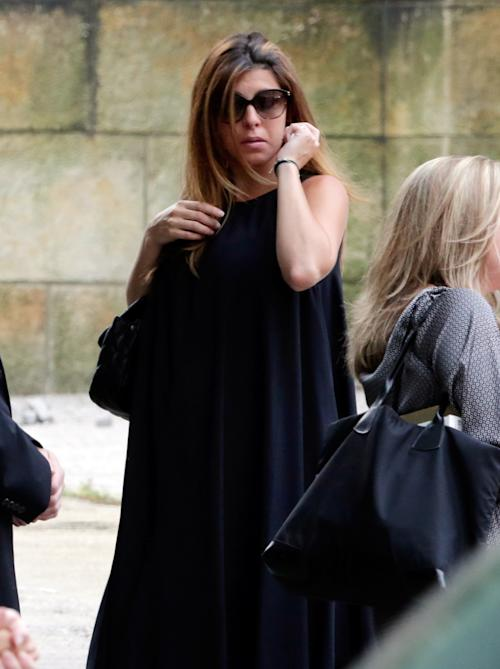 "Actress Jamie Lynn Sigler arrives for the funeral service of James Gandolfini, star of ""The Sopranos,"" in New York's the Cathedral Church of Saint John the Divine, Thursday, June 27, 2013. The 51-year-old actor died of a heart attack last week while vacationing in Italy with his son.(AP Photo/Richard Drew)"