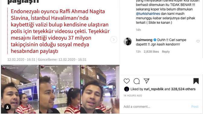 Unggahan Raffi Ahmad. (instagram.com/raffinagita1717)