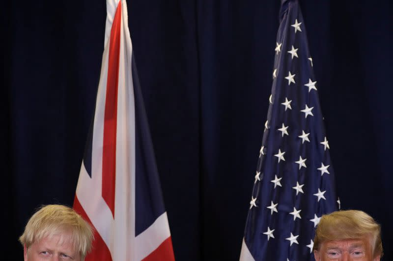 FILE PHOTO: U.S. President Trump meets with British Prime Minister Johnson on sidelines of U.N. General Assembly in New York City