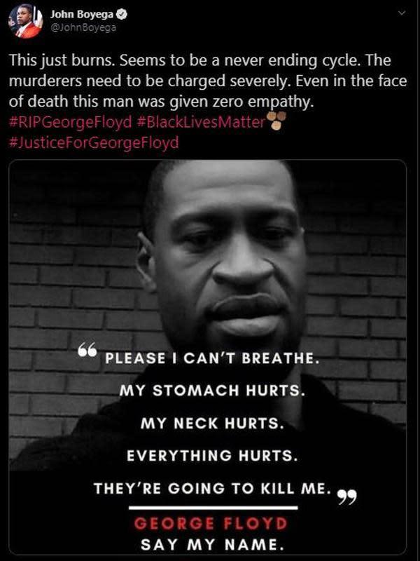 Unggahan John Boyega atas kematian George Floyd. (Instagram/ JohnBoyega)