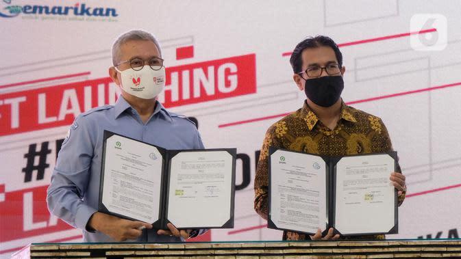 Kolaborasi KKP dan Gojek merupakan bagian dari dukungan jangka panjang untuk Gerakan Nasional Bangga Buatan Indonesia (BBI) sejak awal Mei 2020. Inisiatif ini mendukung UMKM dengan memperluas jangkauan pasar mereka melalui platform digital seperti GoFood. (Liputan6.com/HO/Ading)