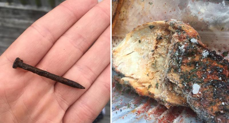 Nadia Petersen posted images of the rusty nail and chicken, which she says she bought from Countdown supermarket in New Zealand, to Facebook on Wednesday