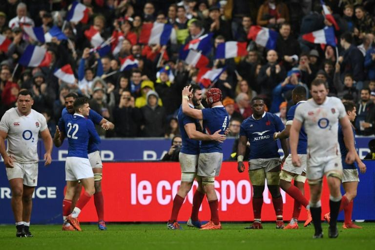 France celebrate their opening victory in the Six Nations over World Cup finalists England