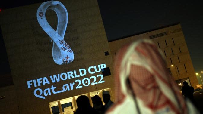 FIFA resmi meluncurkan logo Piala Dunia 2022 di Doha, Qatar, Selasa (3/9/2019). (AFP).