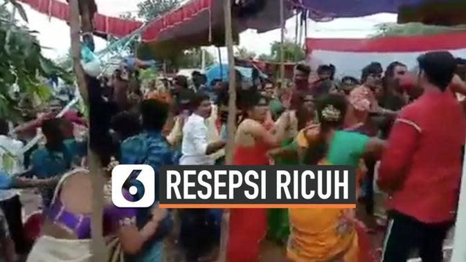VIDEO: Tak Ada Hiburan Musik, Keluarga Ricuh di Resepsi Pernikahan