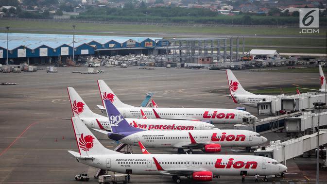 Pesawat maskapai Lion Air terparkir di areal Bandara Soekarno Hatta, Tangerang, Kamis (16/5/2019). Berdasarkan hasil Rapat Koordinasi antara Kementerian Bidang Perekonomian dan Kementerian Perhubungan memutuskan tarif batas atas tiket pesawat turun sebesar 12-16 persen. (Liputan6.com/Faizal Fanani)