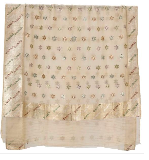 chanderi sari with vande mataram on it
