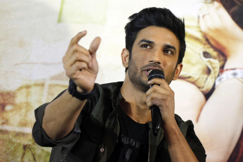 "FILE- In this May 30, 2017 file photo, Bollywood actor Sushant Singh Rajput speaks during a press conference to promote his  movie ""Raabta"" in Ahmadabad, India. Rajput was found dead at his Mumbai residence on Sunday, Press Trust of India and other media outlets reported. (AP Photo/Ajit Solanki, File)"