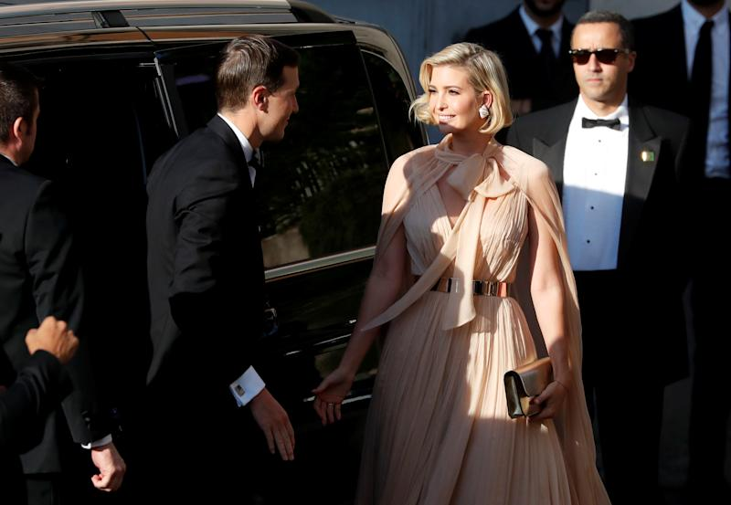 Ivanka Trump and her husband Senior Advisor to the President of the United States Jared Kushner arrive to attend the wedding of fashion designer Misha Nonoo at Villa Aurelia in Rome, Italy, September 20, 2019. REUTERS/Yara Nardi