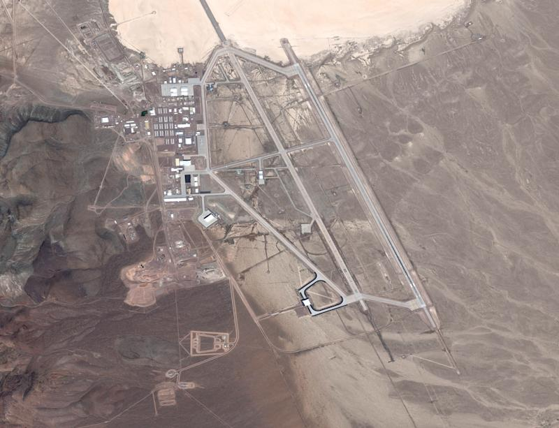 Photo shows United States Air Force facility commonly known as Area 51 from the air. The area is a remote detachment of Edwards Air Force Base, within the Nevada Test and Training Range.