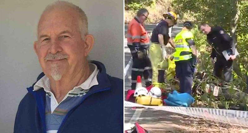 Siemon Mulder (left) went missing after he set off a ride to Esk, Queensland. His bike was found at the side of the road (right pictured with emergency services) near Maleny.