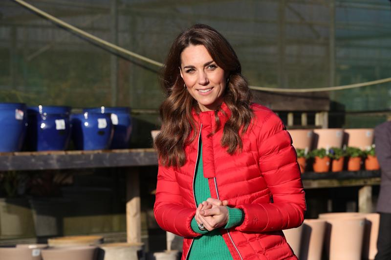 GREAT MISSENDEN, ENGLAND - DECEMBER 04: Catherine, Duchess of Cambridge visits Peterley Manor Farm to take part in Christmas activities with families and children who are supported by the Family Action charity in Buckinghamshire on December 4, 2019 in Great Missenden, England. (Photo by Jonathan Brady - WPA Pool/Getty Images)