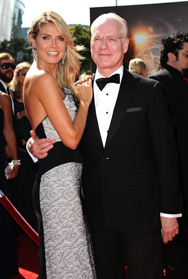 From left, Heidi Klum and Tim Gunn arrive at the 2013 Primetime Creative Arts Emmy Awards, on Sunday, September 15, 2013 at Nokia Theatre L.A. Live, in Los Angeles, Calif. (Photo by Scott Kirkland/Invision for Academy of Television Arts & Sciences/AP Images)