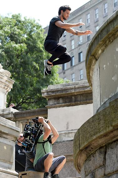 "Taylor Lautner on location for ""Tracers"" in the Upper West Side."
