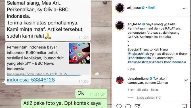 Foto Ari Lasso terpampang dalam berita mengenai influencer yang dibayar pemerintah guna sosialisasi kebijakan. (instagram.com/ari_lasso)