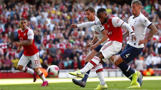Pemain Arsenal, Alexandre Lacazette. (AP/Alastair Grant)