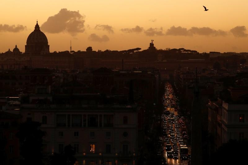 Cars are seen in a traffic jam in Rome