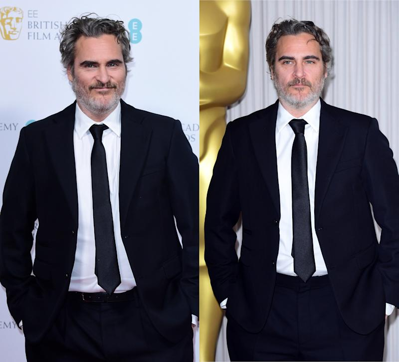 (L-R) Phoenix at the Bafta Nominees' Party and the Academy Award Nominees Reception