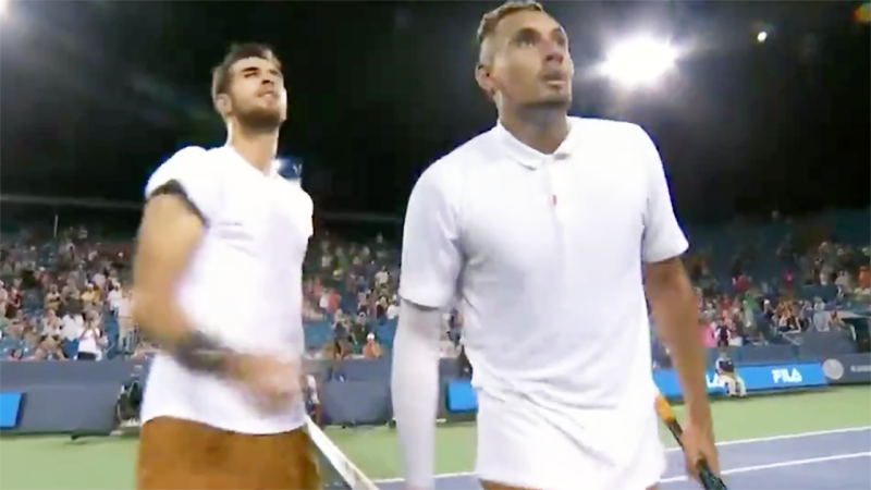 Nick Kyrgios spat in the direction of the umpire. Image: ESPN