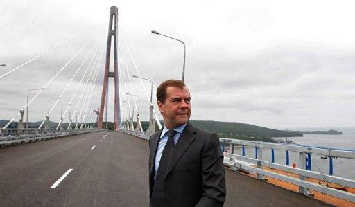 Russia's Prime Minister Dmitry Medvedev walks on the world's longest cable-stayed suspension bridge, the Russky Island bridge, in the Pacific port of Vladivostok. Russia on Monday unveiled the world's longest cable-stayed bridge as it put the finishing touches on a troubled multi-billion investment aimed at revitalising the country's distant Far East