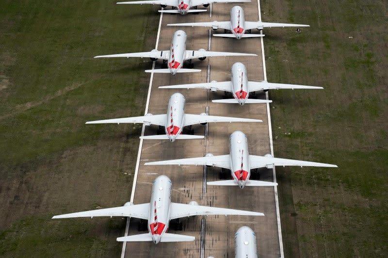 Kesulitan parkir: Maskapai kandangkan pesawat yang nganggur akibat virus
