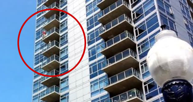 Stunt Men Really Rescue Woman From 14th Floor Balcony