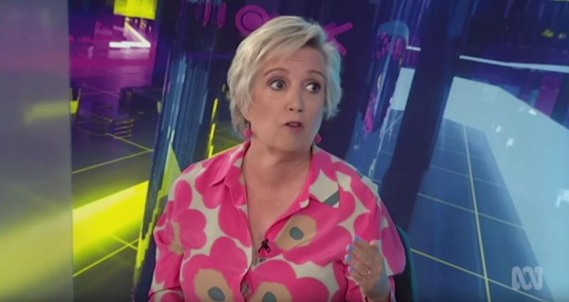 Commentator Jane Caro pictured here in an episode of ABC's The Drum in 2018