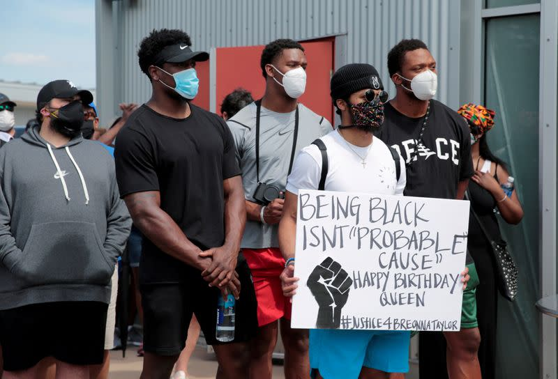 Protesters rally against the death in Minneapolis police custody of George Floyd, in Detroit