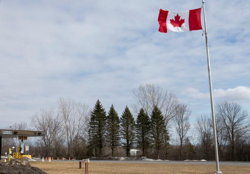 FILE PHOTO: An empty U.S.-Canada border crossing is seen in Lacolle