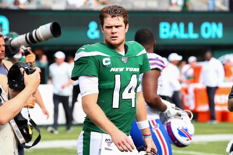 Sam Darnold made an appearance at the Jets facility and felt well enough to do a radio hit on Tuesday. (Getty)