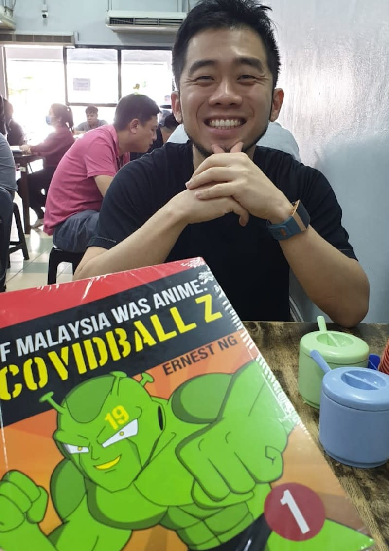 Ernest Ng's comic book 'Covidball Z' features Malaysia's pandemic situation together with famous personalities. — Picture courtesy of Ernest Ng
