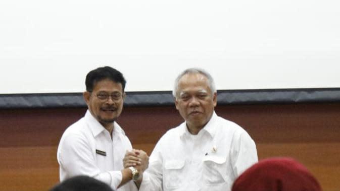 Menteri Pertanian Syahrul Yasin Limpo dan Menteri Pekerjaan Umum dan Perumahan Rakyat (PUPR), Basuki Hadimuljono.