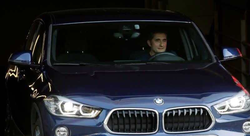 FC Barcelona's coach Ernesto Valverde leaves Joan Gamper training camp
