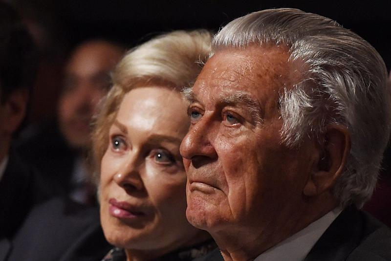 SYDNEY, AUSTRALIA - JUNE 19: Former prime minister Bob Hawke and wife Blanche D' Alpuget wait for Leader of the Opposition Bill Shorten at the Labor campaign launch at the Joan Sutherland Performing Arts Centre as part of the 2016 election campaign on June 19, 2016 in Penrith, Sydney, Australia. Source: Getty