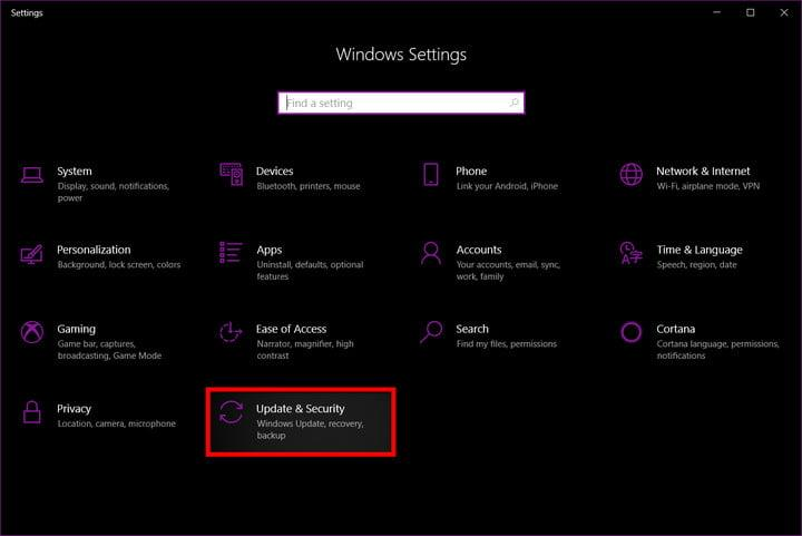 Windows 10 Settings Update and Security