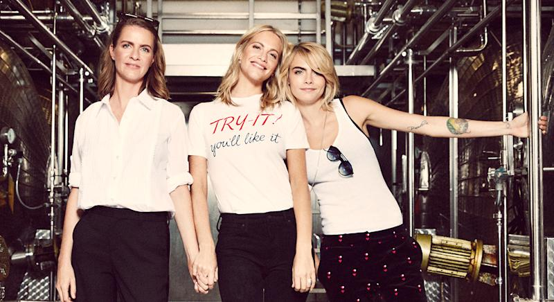Chloe, Poppy and Cara Delevingne have launched their first ever bottle of Prosecco named Della Vite. (Della Vite)